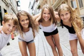 Group of child in urban street